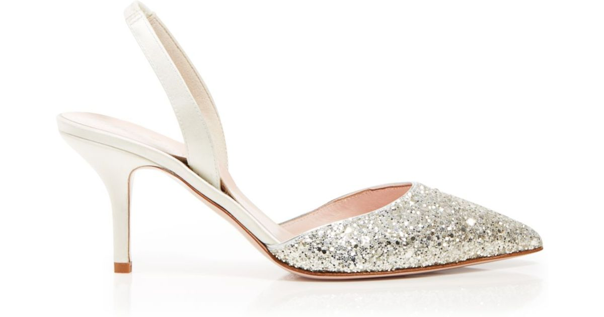 492f8725b Kate Spade Pointed Toe Slingback Evening Pumps - Jeanette Mid Heel in  Metallic - Lyst