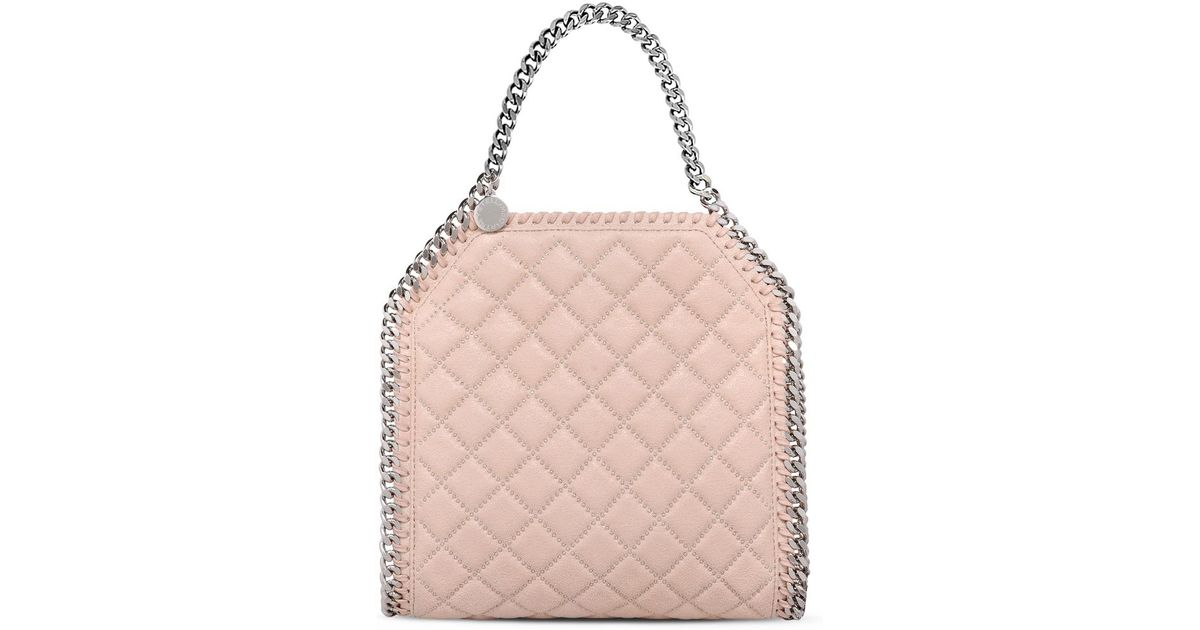 74e487c769 Stella McCartney Falabella Studded Quilted Shaggy Deer Mini Tote in Pink -  Lyst