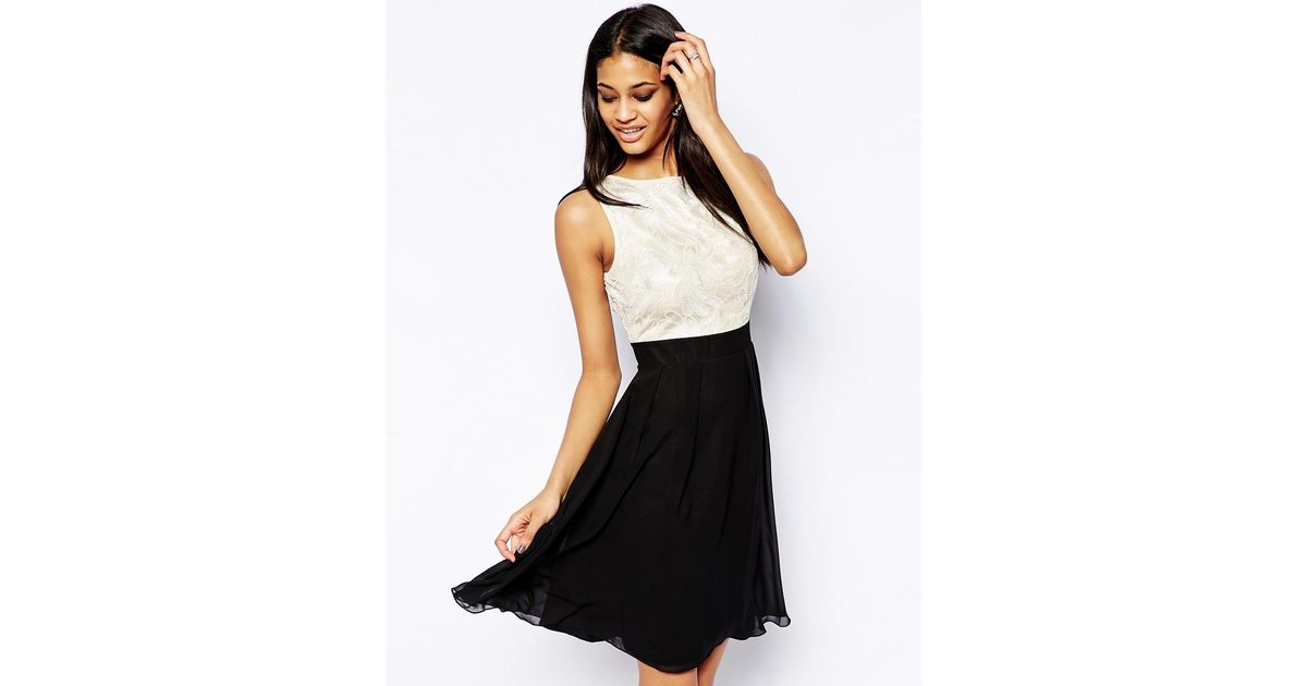 Little Mistress Floral Sequin Babydoll Prom Dress in Black - Lyst