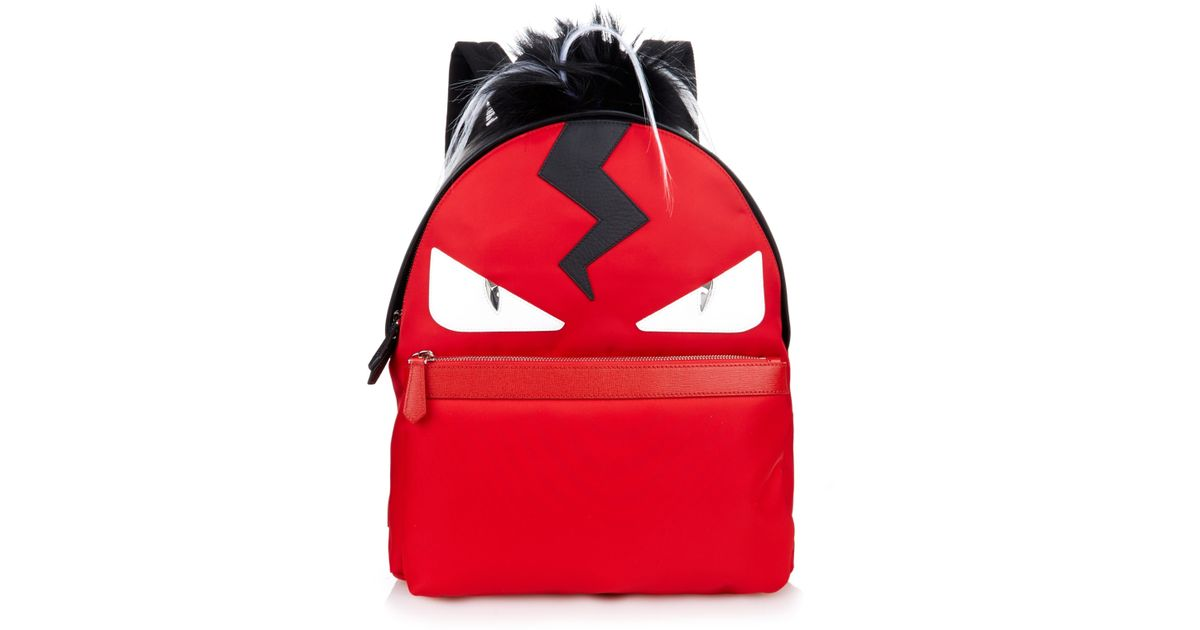 3bdc58a66f8 Fendi Bag Bugs Leather And Nylon Backpack in Red for Men - Lyst