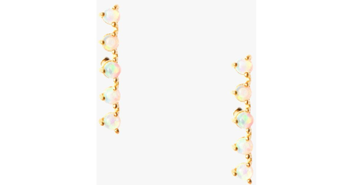 7 For All Mankind Opal Railroad Earrings In Gold QcvBCPB