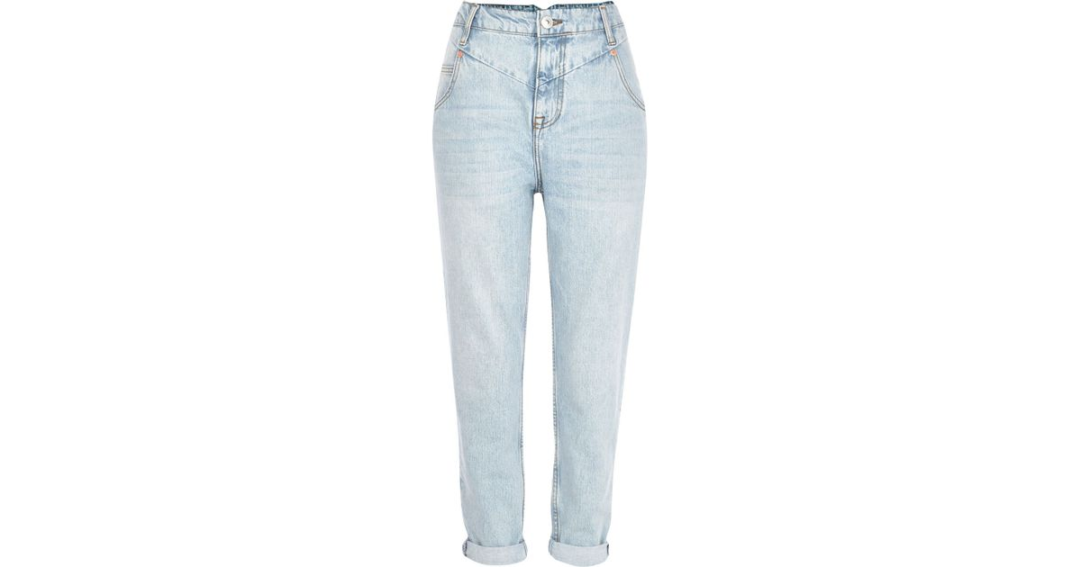 fb3658cfa7 River Island Light Wash Slim Mom Jeans in Blue - Lyst