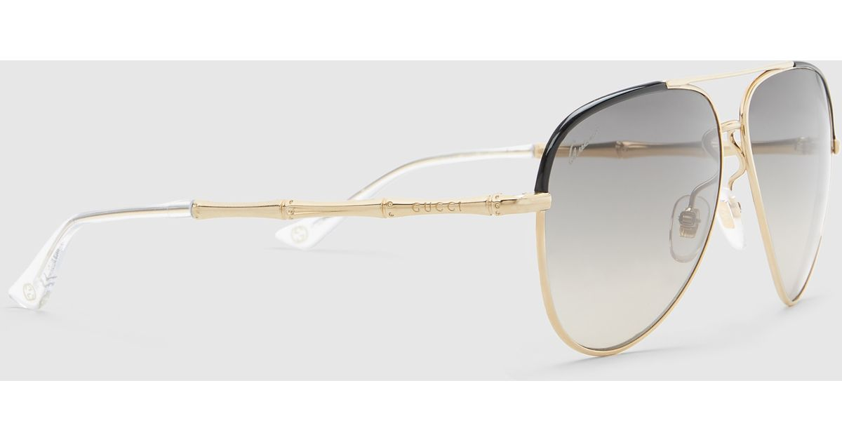 gucci black leather and gold metal aviator sunglasses ...