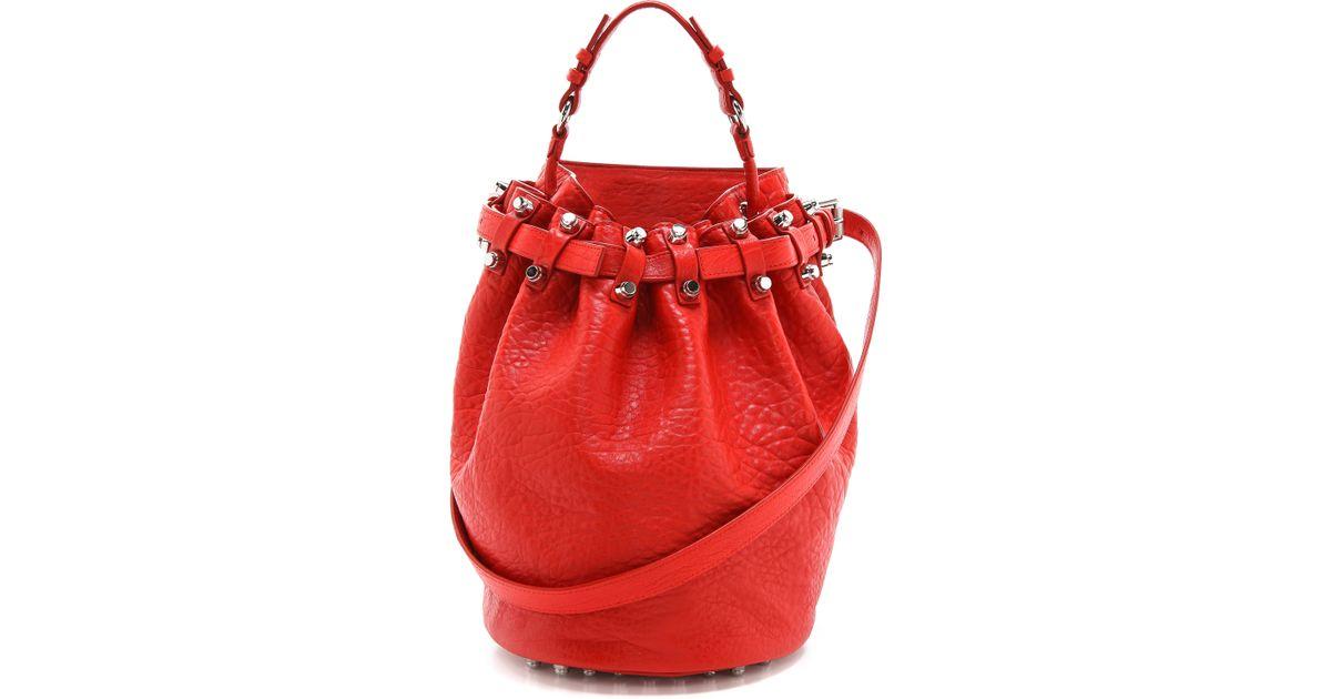 Lyst - Alexander Wang Diego Bucket Bag in Red 035950ccef104