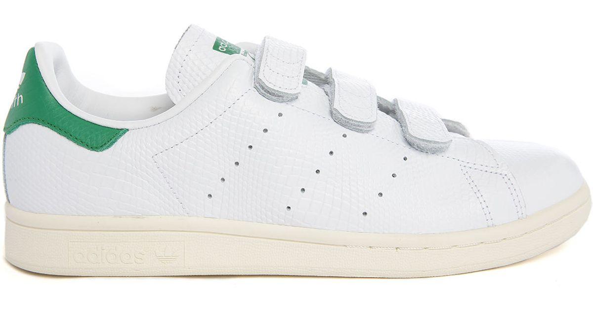 adidas originals stan smith velcro white embossed leather sneakers in white for men lyst. Black Bedroom Furniture Sets. Home Design Ideas