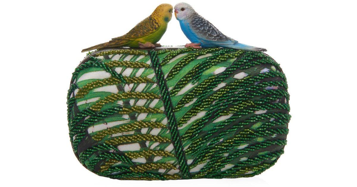 cute finest fabrics complimentary shipping Sarah's Bag Green Love Bird Beaded And Satin Clutch