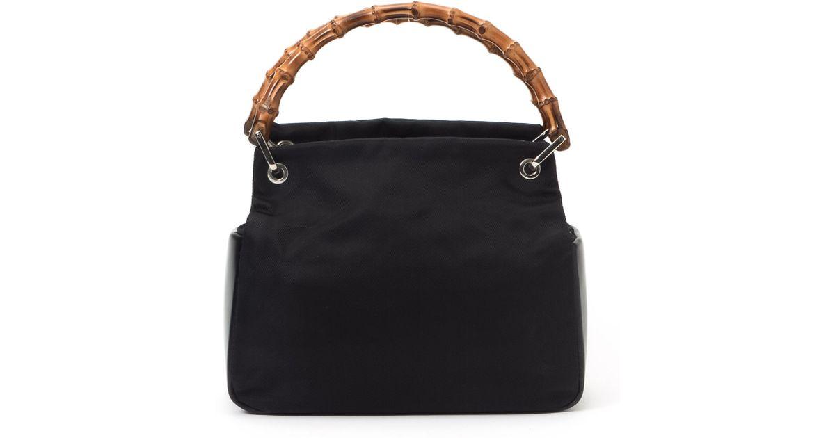 1ed1eac6ed41 Gucci Black Bamboo Nylon Handbag in Black - Lyst