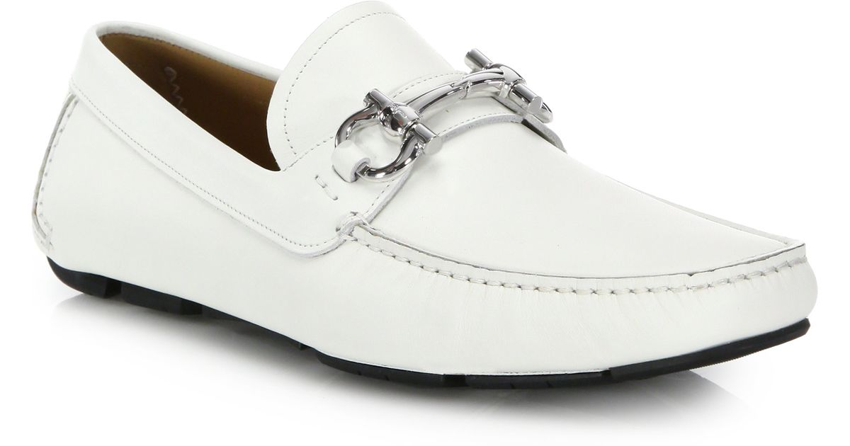 2b577470ba8 Lyst - Ferragamo Parigi Leather Drivers in White for Men
