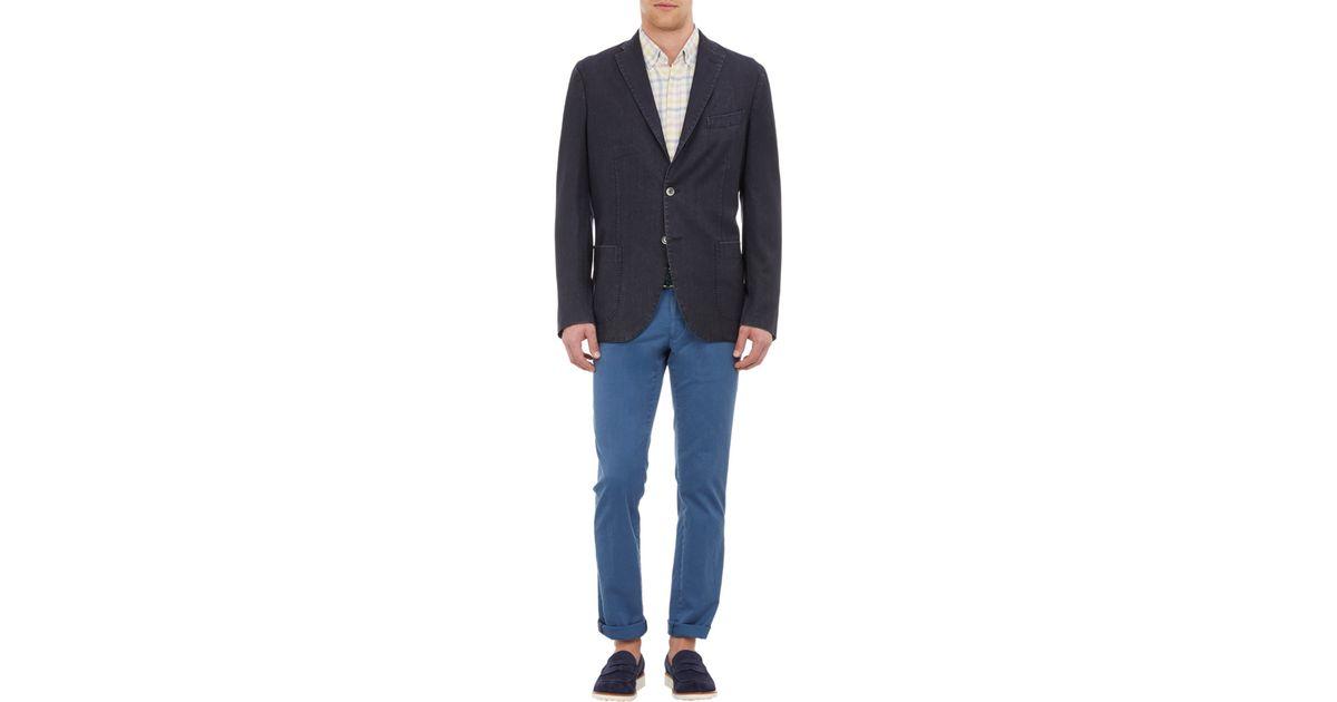 Boglioli Herringbone Travel Jacket in Blue for Men (navy ...