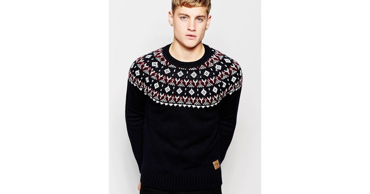 Jack & jones Knitted Jumper With Christmas Fair Isle Yoke for Men ...