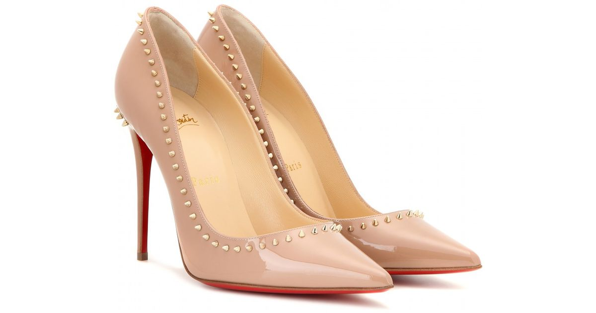 520defcffb5 Christian Louboutin Anjalina 100 Patent-Leather Pumps in Natural - Lyst