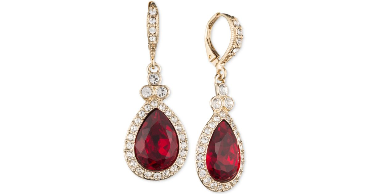 Wonderful Lyst - Givenchy Gold-tone & Red Stone Teardrop Earrings in Red IF53