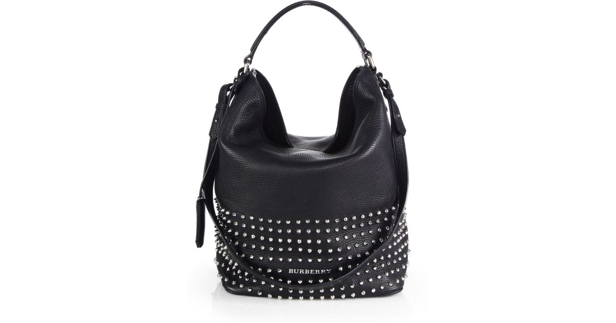 16963ec6d7f9 Lyst - Burberry Susanna Medium Studded Bucket Bag in Black