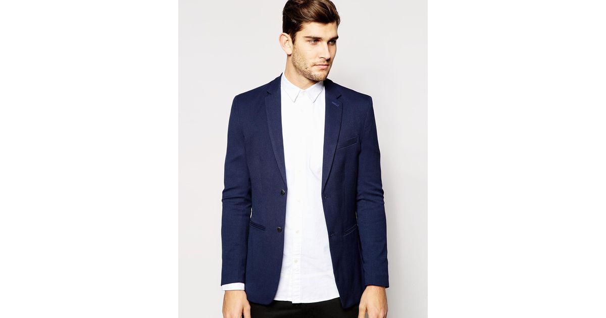 jack jones pique blazer in slim fit in blue for men lyst. Black Bedroom Furniture Sets. Home Design Ideas