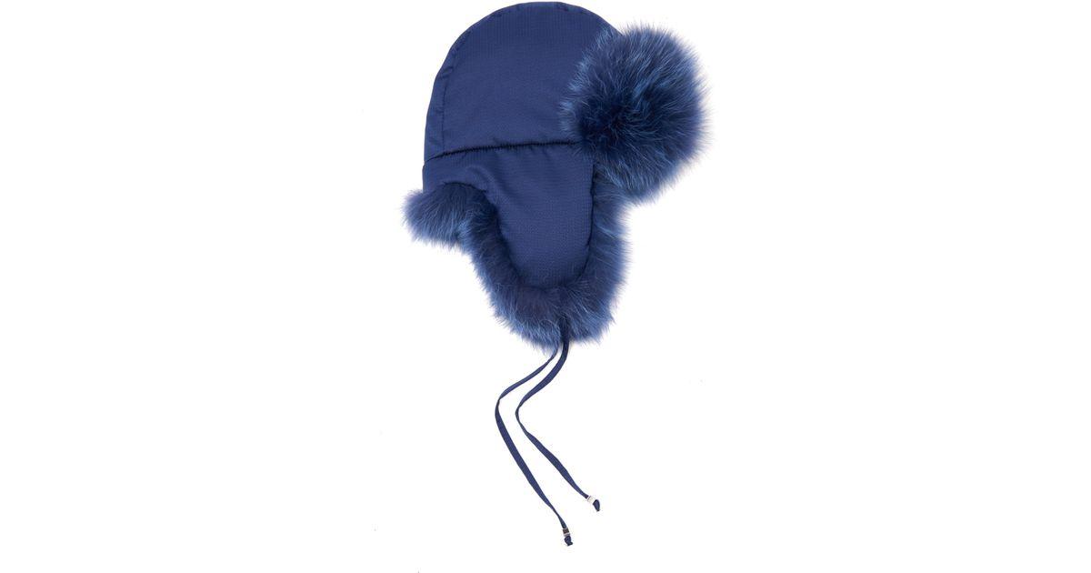 f0540a94636 Lyst - Fendi Micro-Logo Fox-Fur Lined Trapper Hat in Blue
