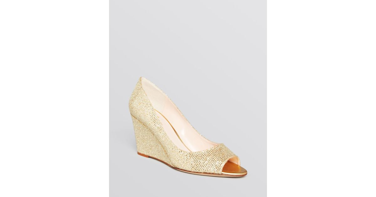 91ed2e0607b2 Lyst - Kate Spade Peep Toe Wedge Evening Pumps - Radiant Gold in Metallic