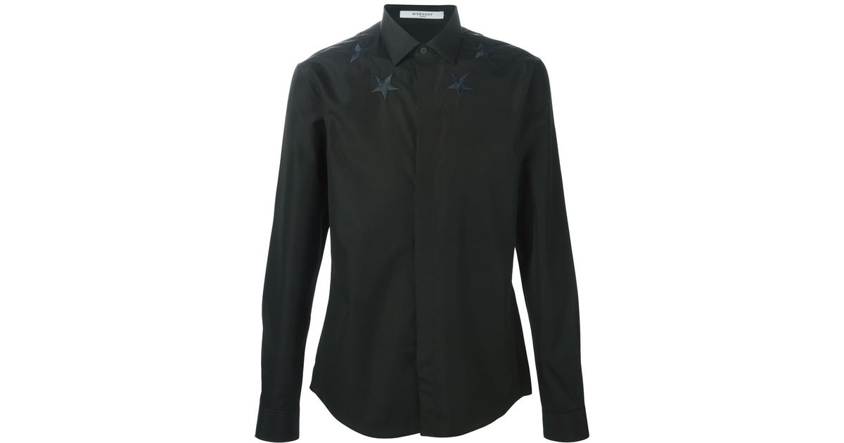 05a093b27b8 Lyst - Givenchy Star Embroidered Shirt in Black for Men
