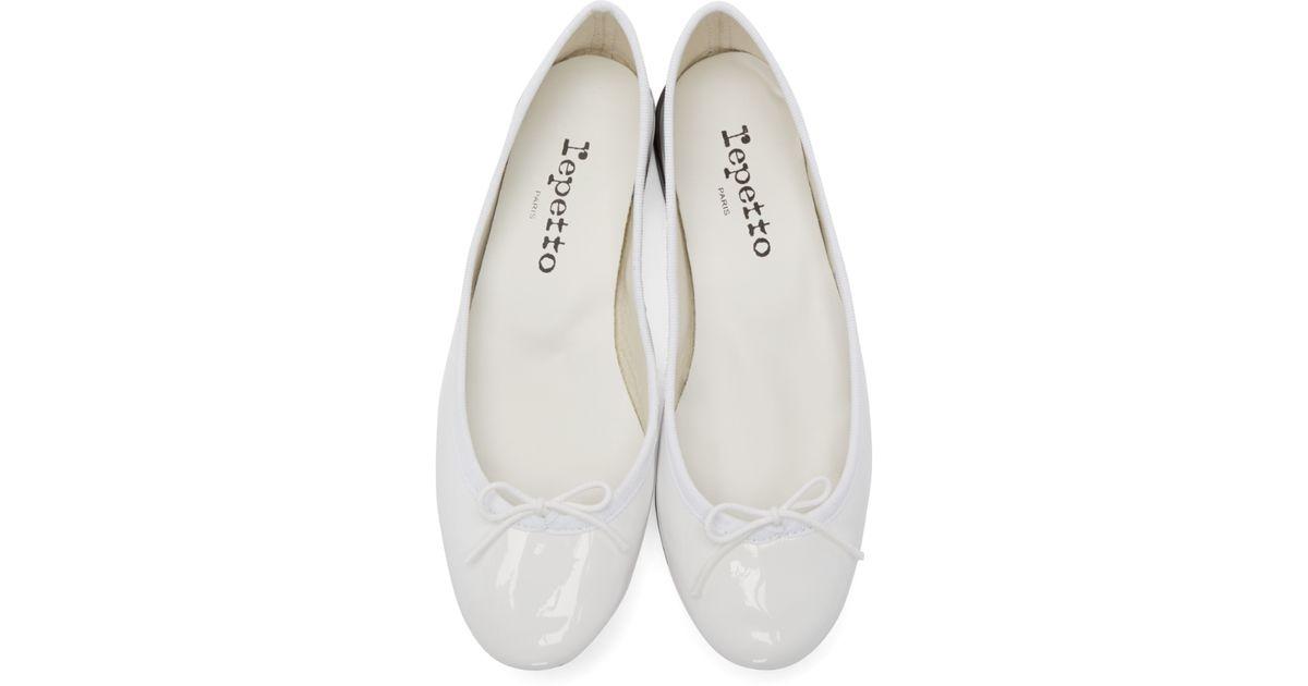 99568a36854 Lyst - Repetto Cendrillon Patent Ballet Flats in White