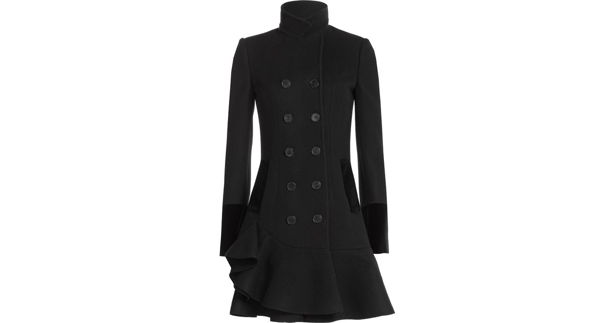Alexander mcqueen Virgin Wool Coat With Flared Hem - Black in ...
