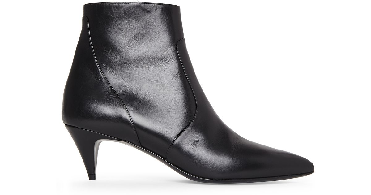 Saint laurent Black Kitten Heel Booties in Black | Lyst