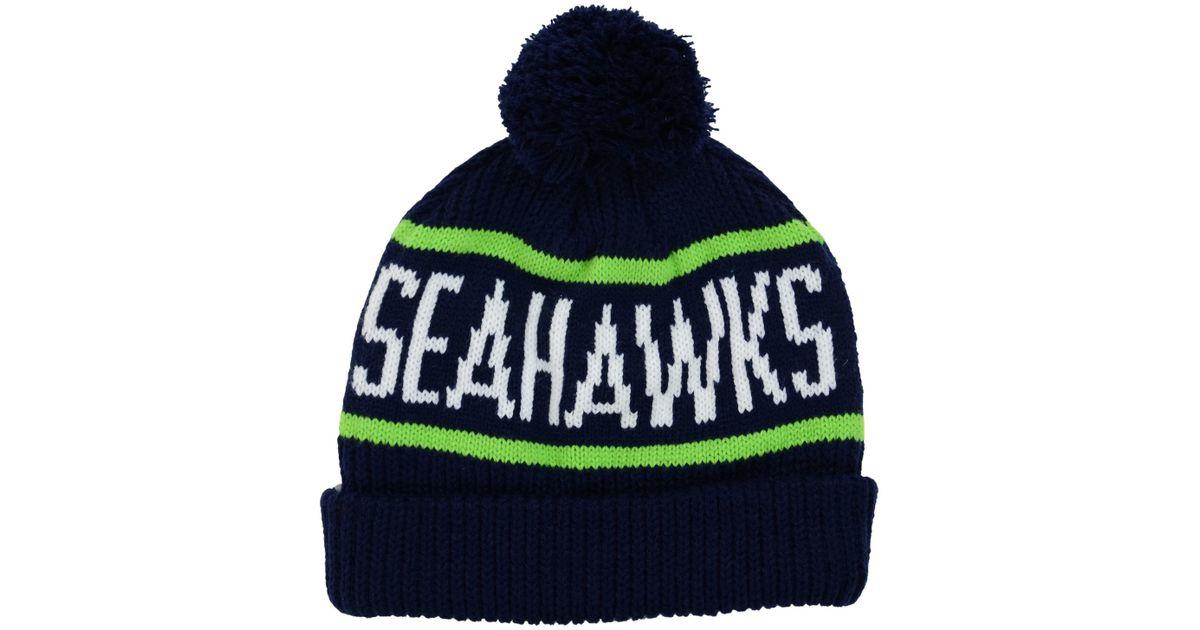 b0e2d1f34f7 ... release date lyst 47 brand seattle seahawks carnegie knit hat in blue  2e156 db478 discount seattle seahawks new era ...