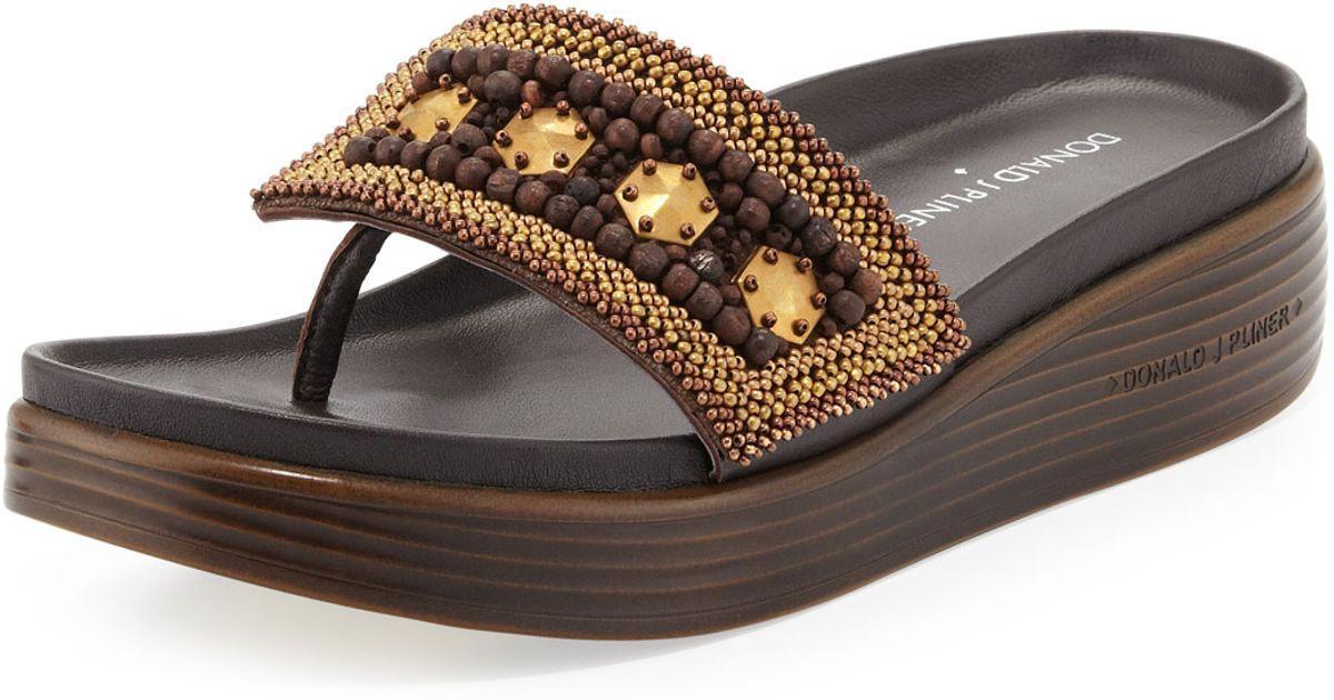 32e713bb73e Lyst - Donald J Pliner Fifi Beaded Platform Sandal in Metallic