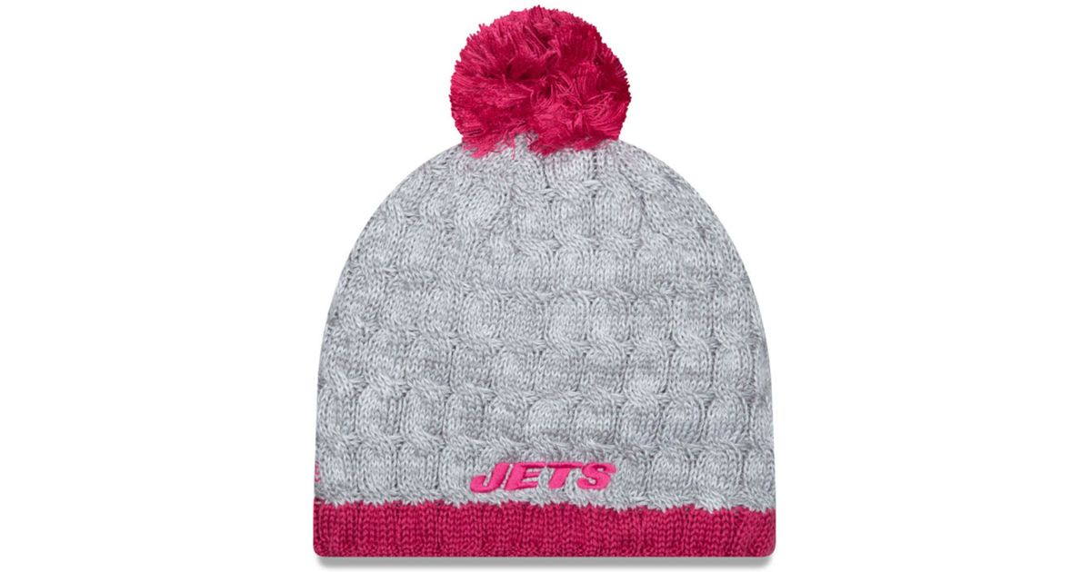 Lyst - KTZ Women s New York Jets Breast Cancer Awareness Knit Hat in Gray cd20e168a6