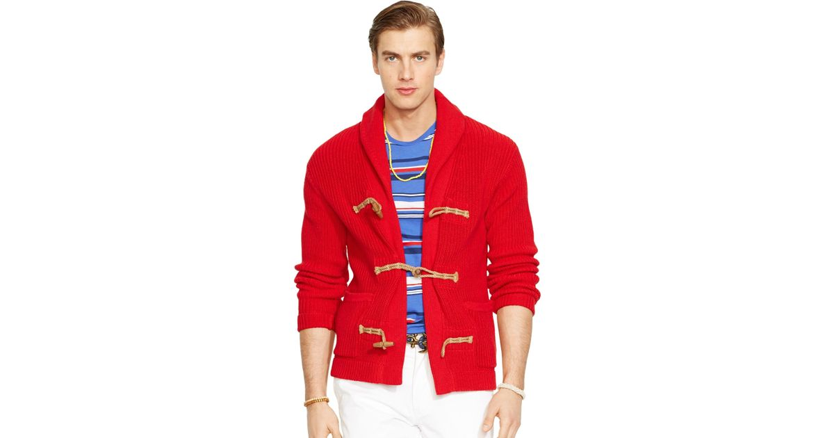 Polo ralph lauren Egyptian-Cotton Shawl Cardigan Sweater in Red for Men | Lyst