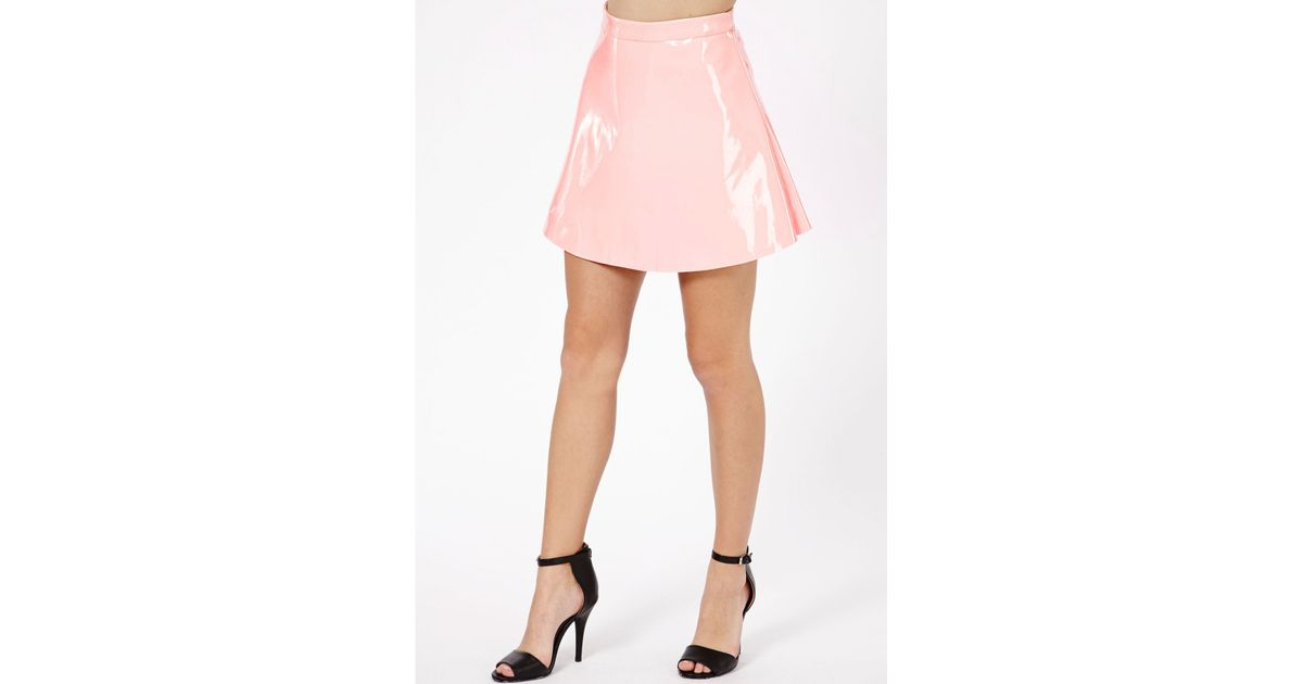 Missguided Milusia Pvc Skater Skirt In Baby Pink In Pink