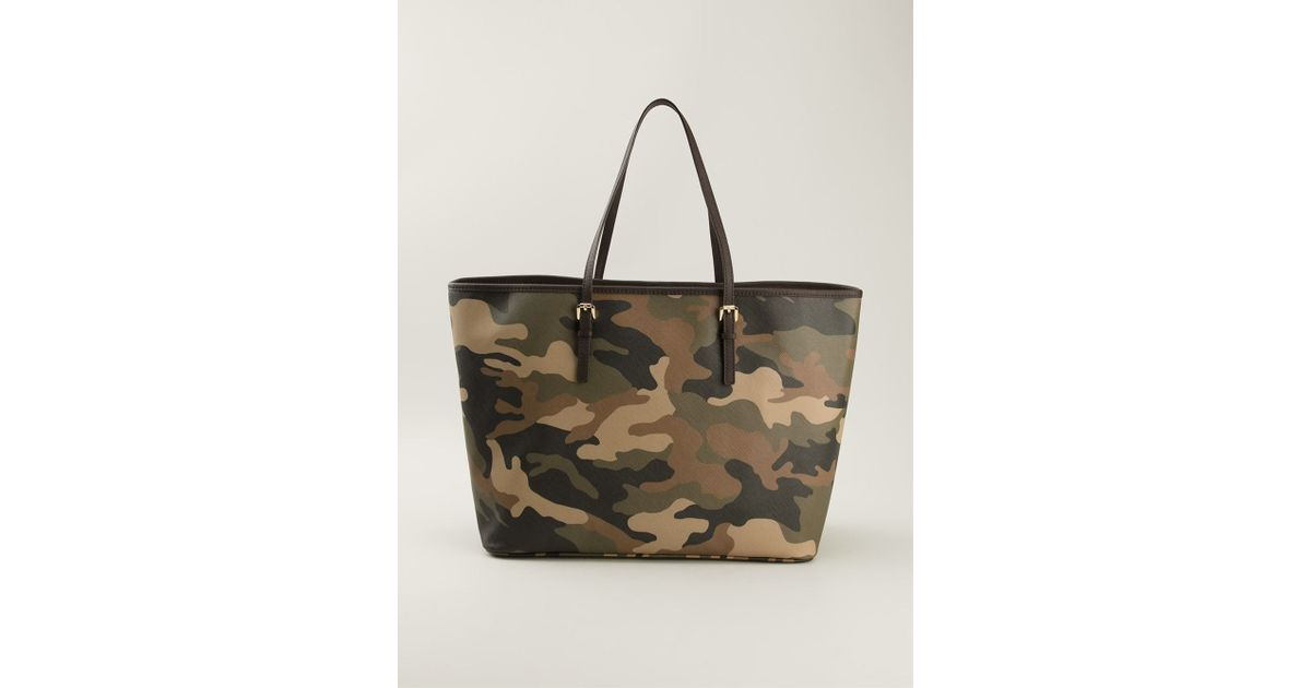 47ad1a425223 ... where to buy lyst michael michael kors camouflage jet set tote in green  f5c25 4d0a0