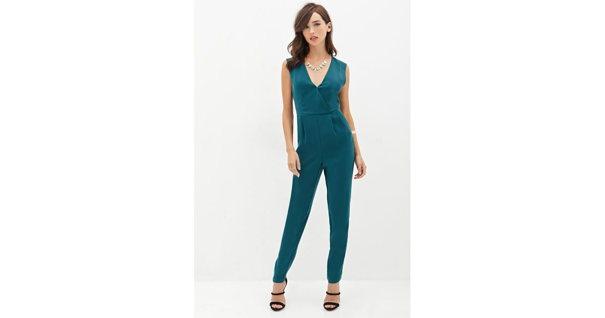 cfac72b5985 Lyst - Forever 21 Surplice Woven Jumpsuit in Blue
