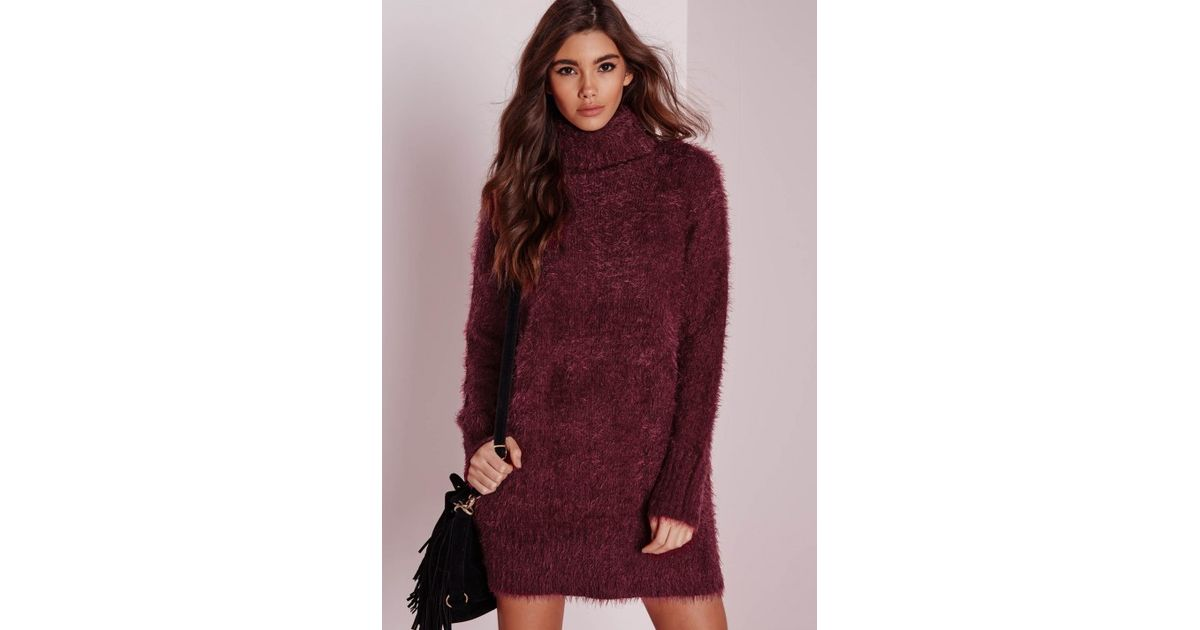 Lyst - Missguided Fluffy Roll Neck Jumper Dress Burgundy in Purple 15daddcbe