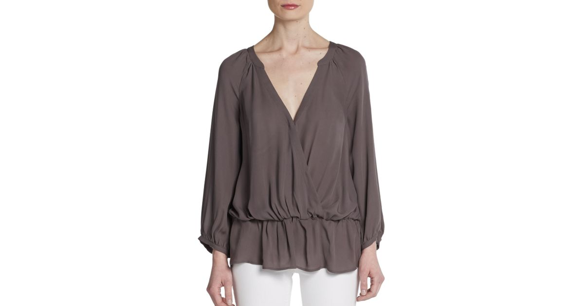 c8a7c2e9d6c011 Lyst - Joie Louvre Silk Surplice Top in Brown