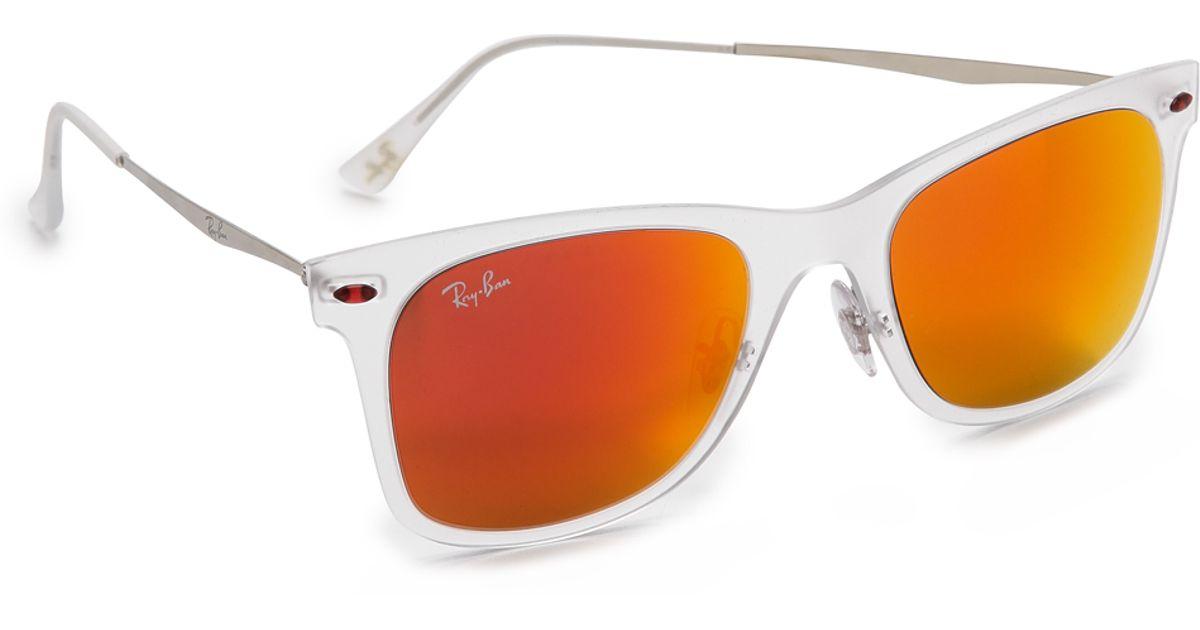 5a48ff398 Ray-Ban Tech Light Sunglasses - Matte Transparent/green Mirror - Lyst