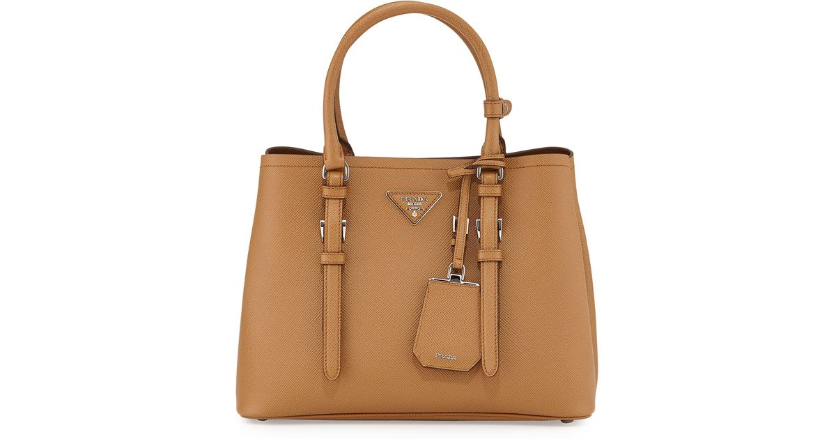 b9a96d950d52 Prada Saffiano Cuir Covered-Strap Double Bag in Brown - Lyst