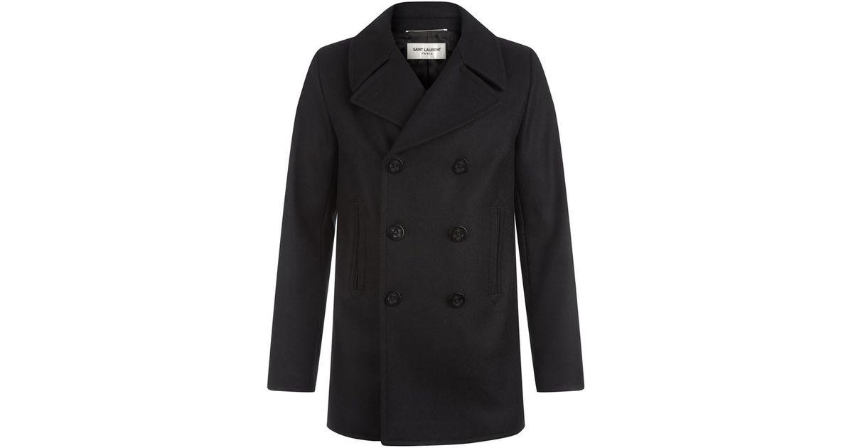 efc6b5de4e8 Saint Laurent Cashmere Caban Pea Coat in Black for Men - Lyst