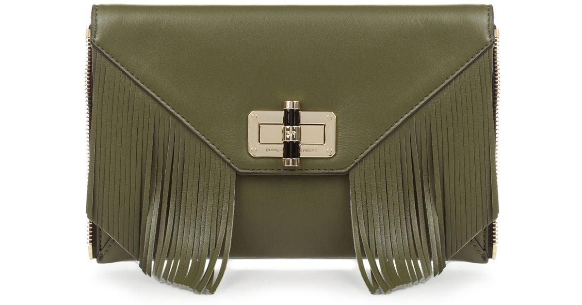 3a9292845227 Diane von Furstenberg Secret Agent Zip-on Clutch in Natural - Lyst
