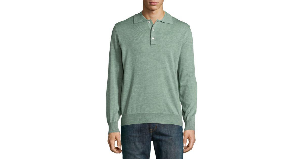 Robert talbott long sleeve polo sweater in green for men for Robert talbott shirts sale