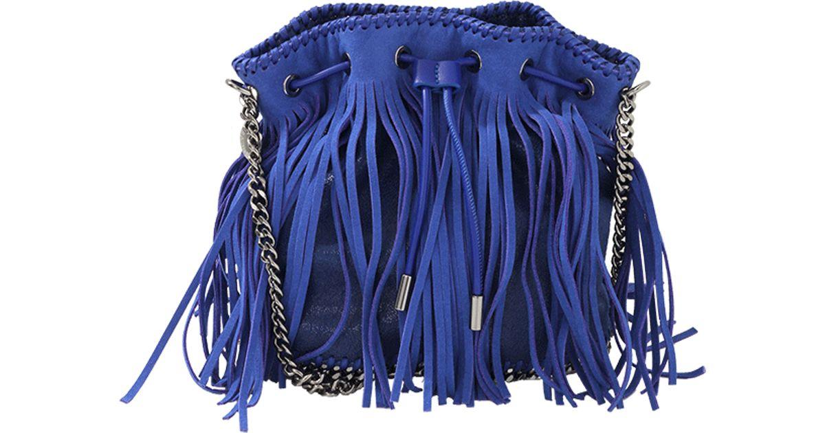 a095eb3cb9 Stella McCartney Falabella Small Fringe Bucket Bag in Blue - Lyst