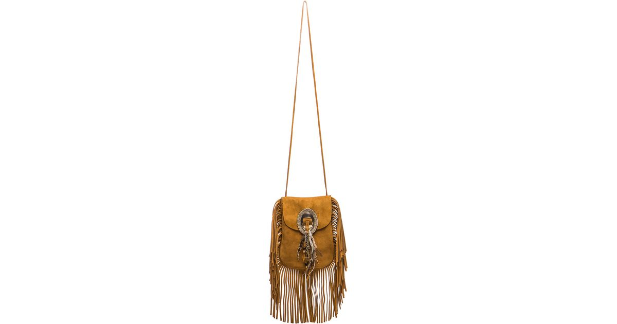 7d717c5811fb Lyst - Saint Laurent Anita Bag With Feathers And Fringe in Brown