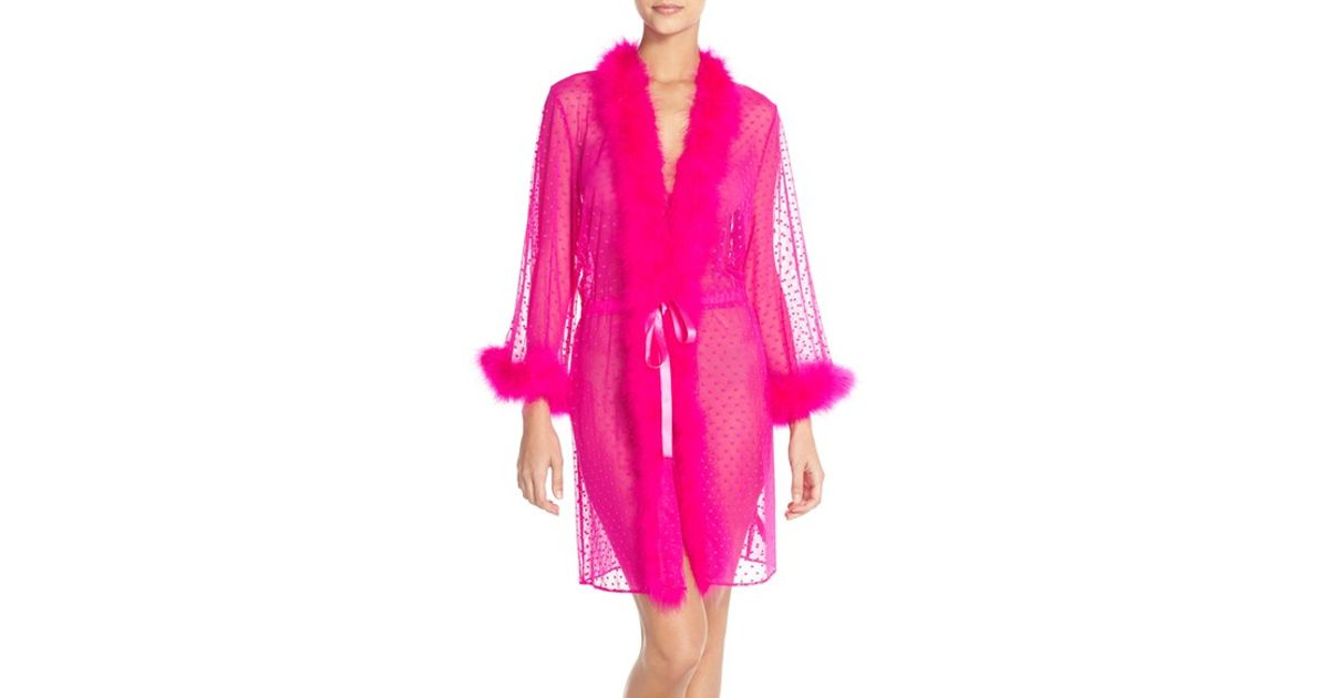 Lyst - Betsey Johnson Feather Accent Sheer Short Robe in Pink