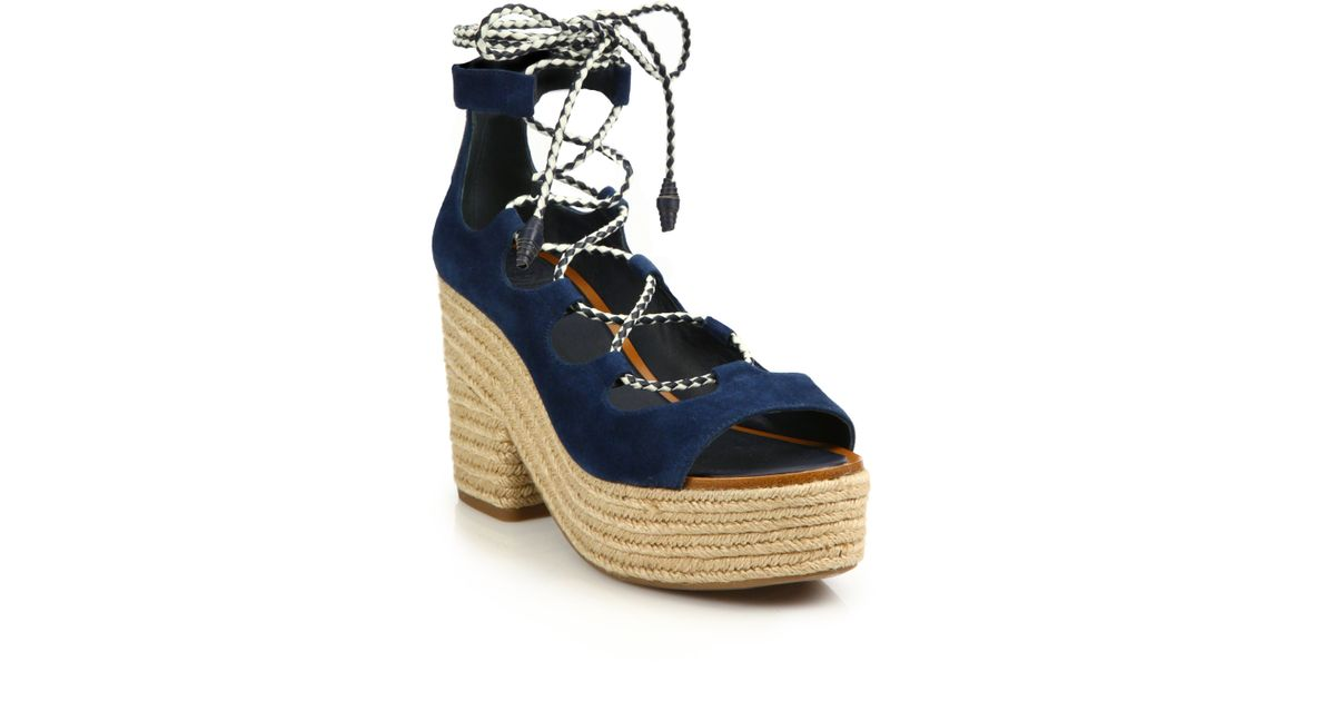 f75bc9db2f49 Lyst - Tory Burch Positano Suede Lace-up Espadrille Platform Sandals in Blue
