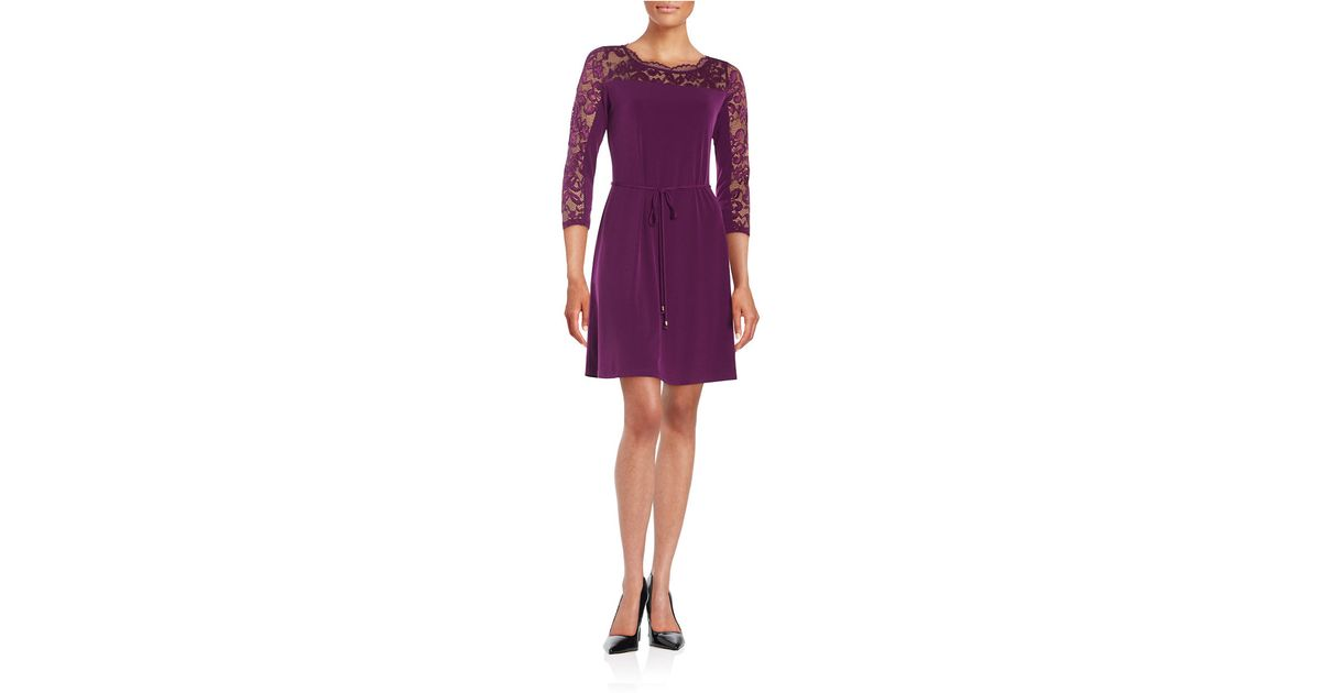 Chetta b lace-accented sheath dress