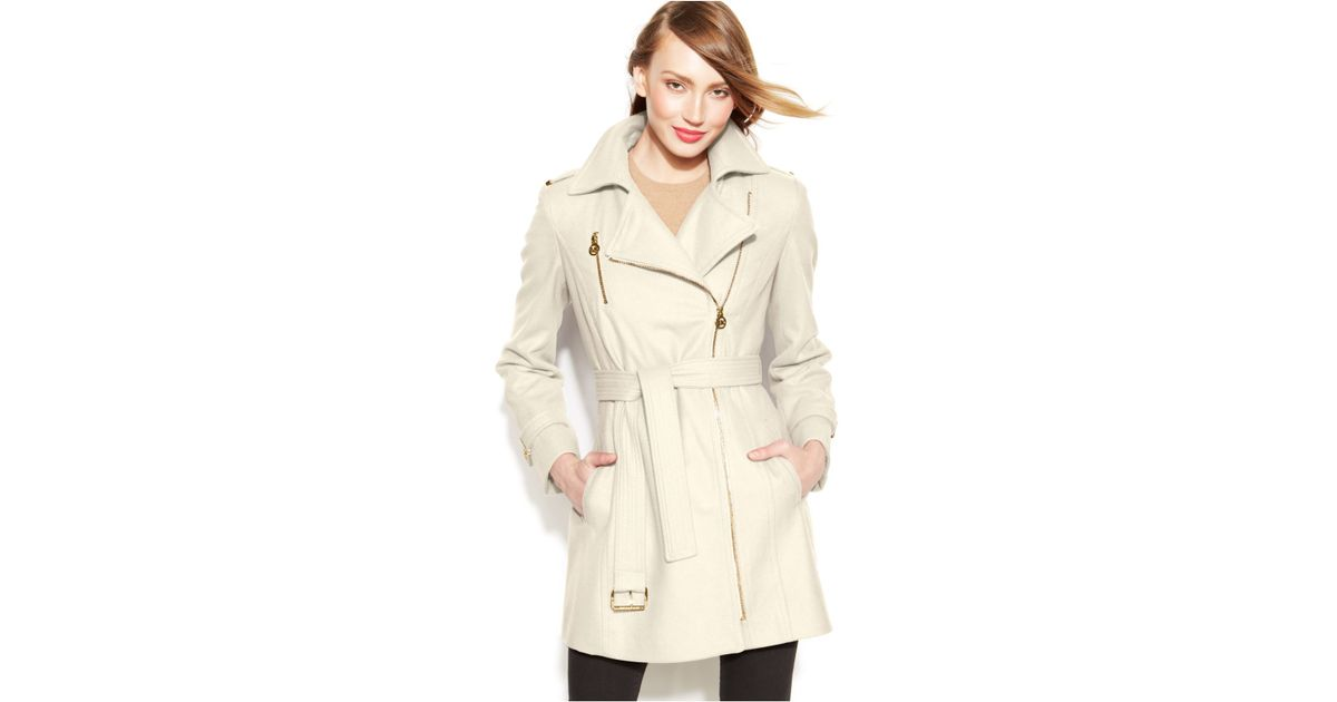 Michael kors Michael Petite Asymmetrical Belted Walker Coat in ...