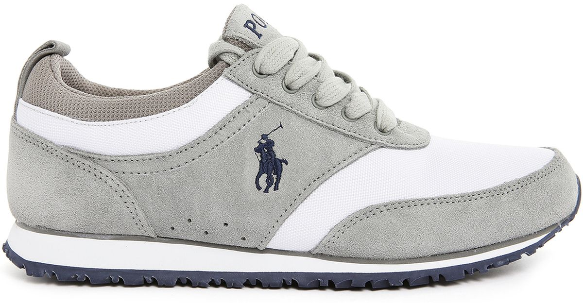 polo ralph ponteland grey suede and mesh running