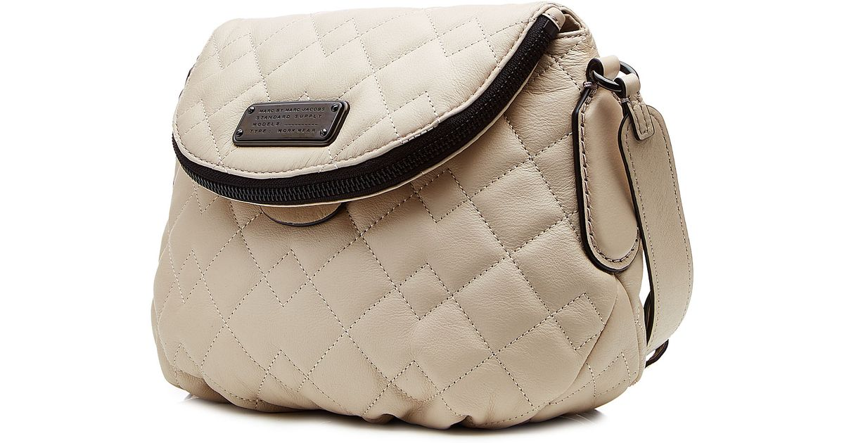 7cf4b685aac5 Marc By Marc Jacobs New Q Quilted Mini Natasha Leather Shoulder Bag - Beige  in Natural - Lyst