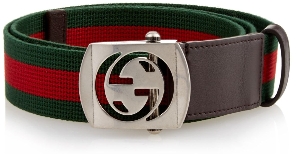 5c1eae2d11a Lyst - Gucci Gg-buckle Canvas Belt in Red for Men