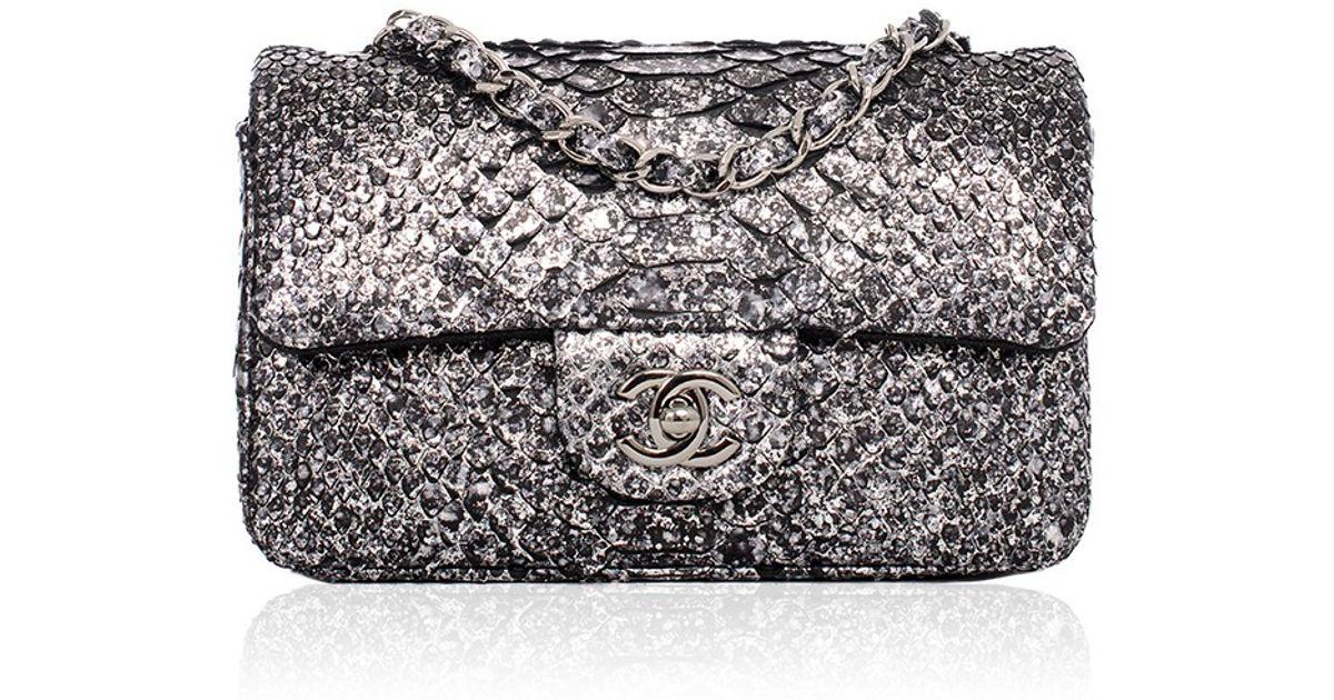 f1c771b19e56 Madison Avenue Couture Chanel Silver Python Mini Classic 2.55 Flap Bag in  Metallic - Lyst