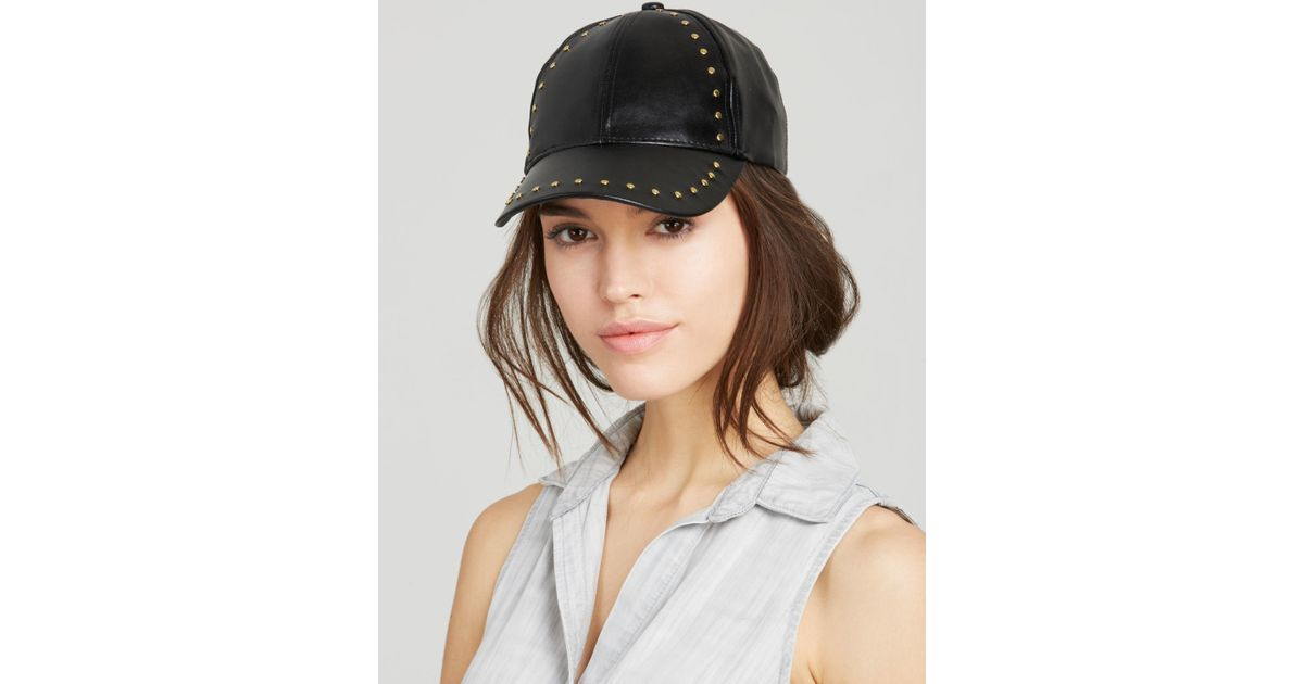 Lyst - August Accessories Studded Baseball Cap in Black 5c891acd948