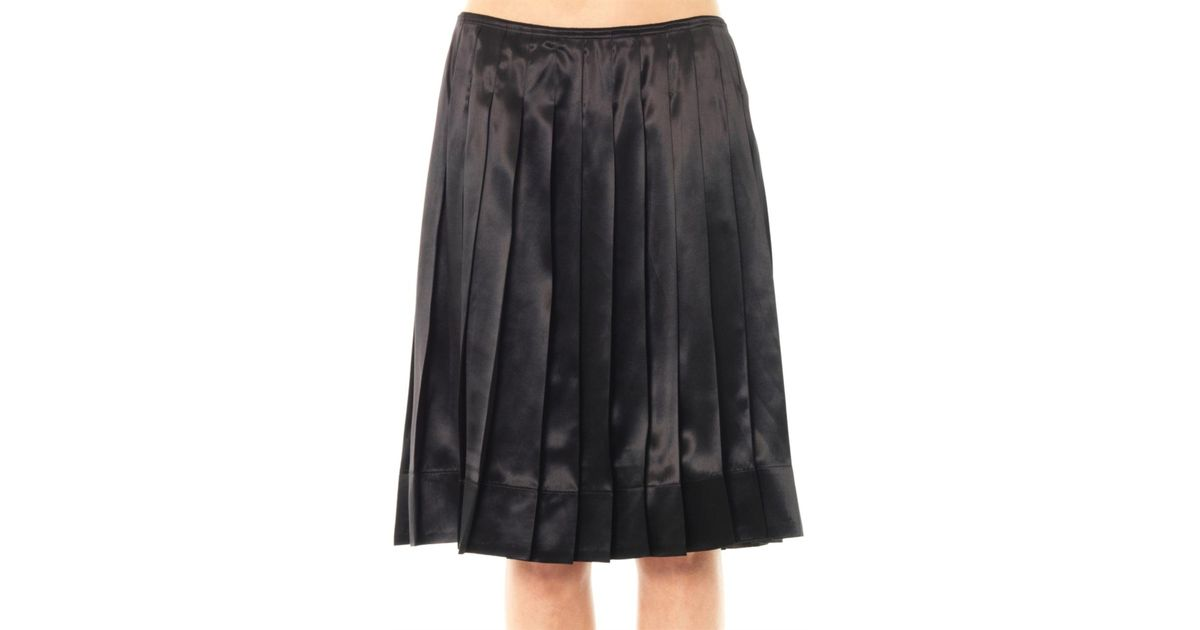 marc pleated silk satin skirt in black lyst